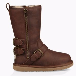 UGG Kaila shearling leather buckle strap boots